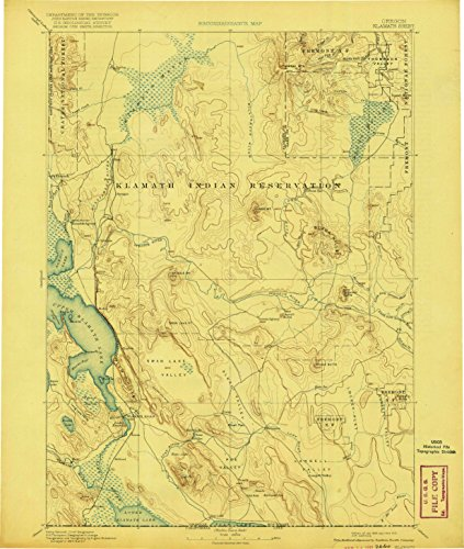 Klamath OR topo map, 1:250000 scale, 1 X 1 Degree, Historical, 1894, updated 1921, 19.4 x 16.4 IN - - Canby Woods