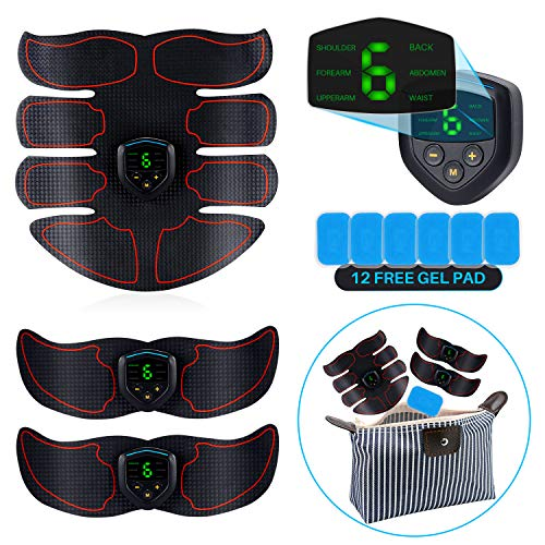 Abs Stimulator, EMS Muscle Trainer, with 12pcs Extra Gel Pad – LCD Display, USB Rechargeable Fitness Belts Equipment with Storage Bag for Women Men Abdominal Work Out, Office, Home Gym Gear
