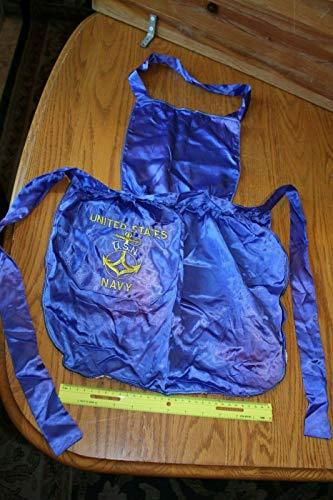 USN Navy United States Apron Silk blue Sweetheart bib vintage WWII handmade