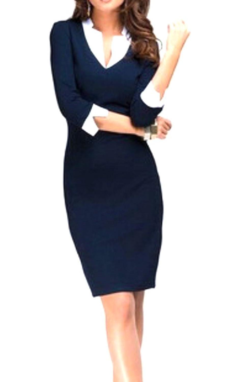 ARRIVE GUIDE Womens Slim Long Sleeve Office V-neck Bodycon Business Dress