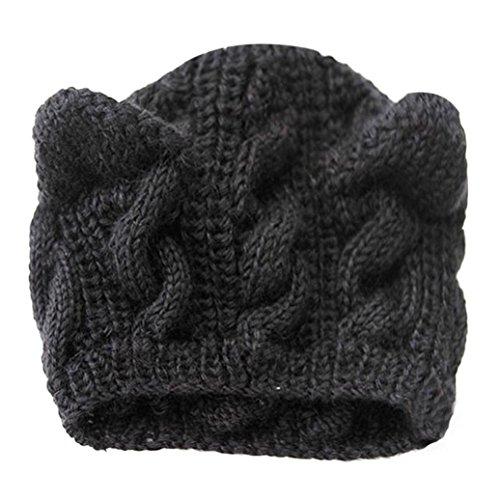 Winter Hat, ღ Ninasill ღ Exclusive Cat Ears Hemp Flowers Knitted Hat (Black)