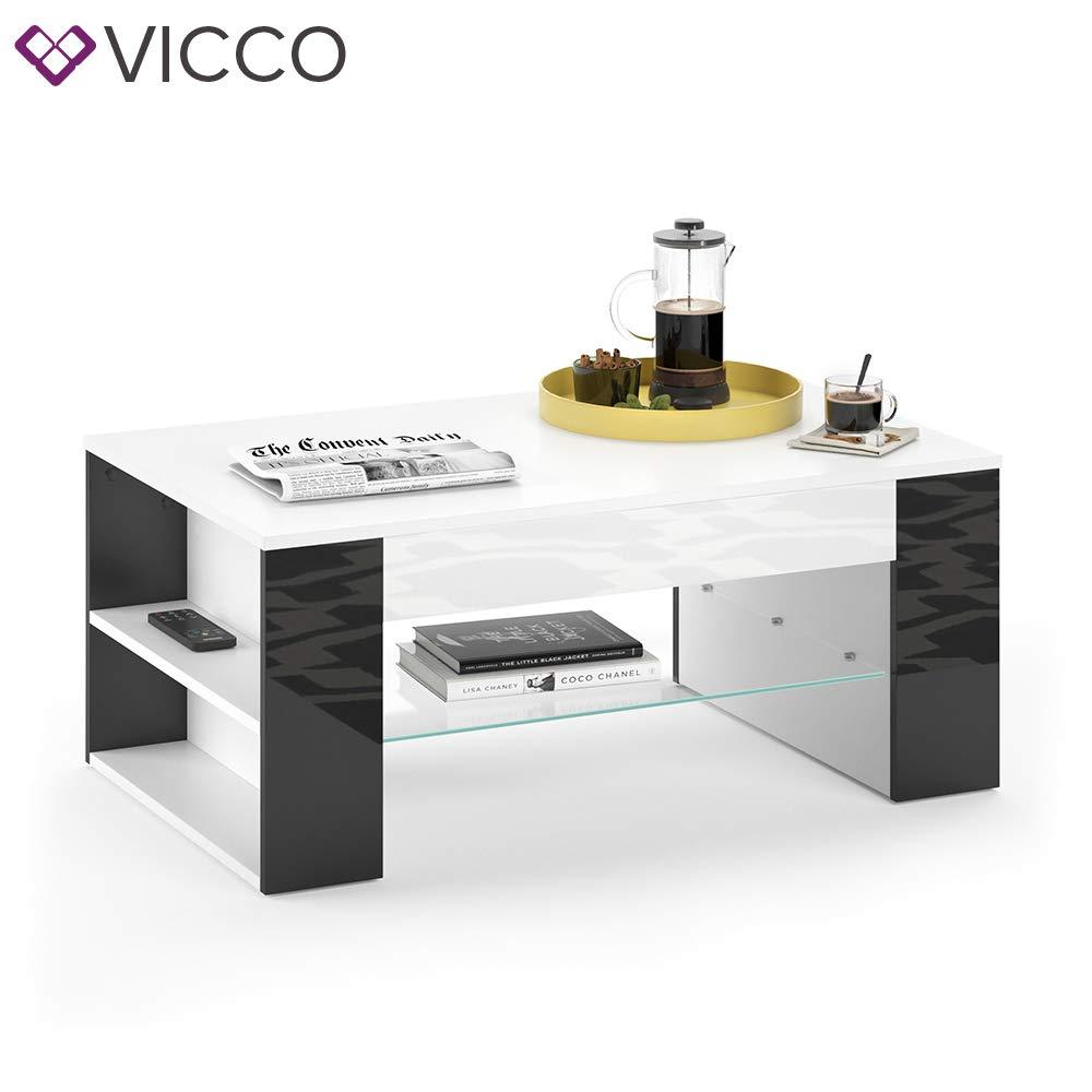 Vicco Tavolino da caff/è STELIOS in Bianco Nero Lucido Tavolino da caff/è per Soggiorno