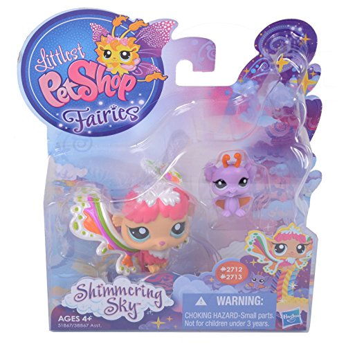 Littlest Pet Shop Fairies, Shimmering Sky, Rain Prism Fairy 2712 and Bat 2713