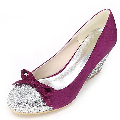 Tacco da Purple da Sposa con Cm Sera Glitter Elobaby 9140 Nuove Donna 6 in Raso 5 Peep Scarpe Fatte A 11 Toe Mano w5atqxBg