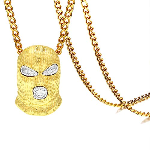 Xusamss Hip Hop Stainless Steel Crystal Mask Pendant 27inches Chain Necklace (Old-school-hip-hop-gang)