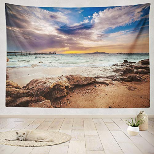 ASOCO Tapestry Wall Handing Wonderful Solar Red Sea Beach at A Luxury Hotel at Sunset Sinai Egypt Wall Tapestry for Bedroom Living Room Tablecloth Dorm 60X80 Inches by ASOCO