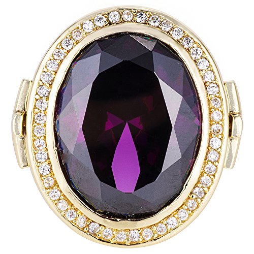 14k Purple Cross - Purple Amethyst Cubic Zirconia 14k Gold Plated Bishop Cross Ring (9)