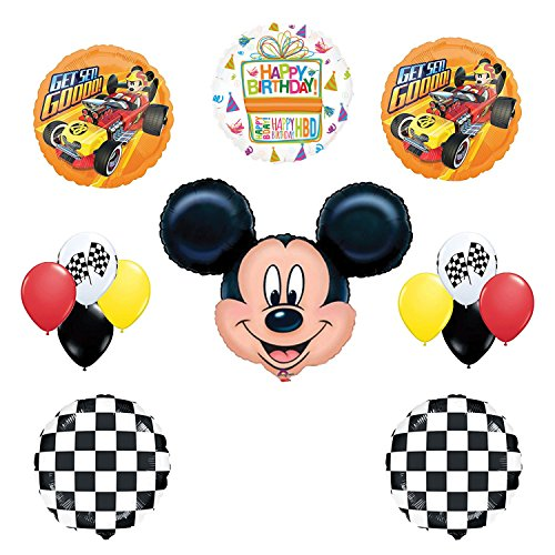 Mickey Mouse Birthday Party Supplies and Mickey Roadster Balloon Bouquet Decorations (Mouse Round Mickey)
