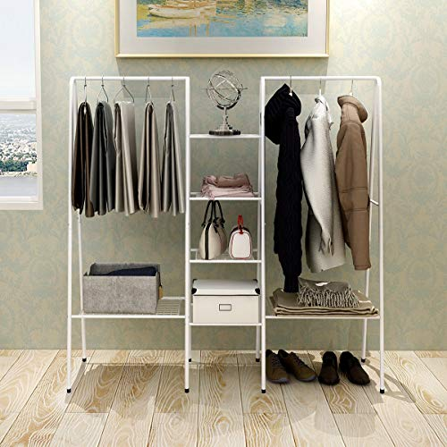 Closet Organizer and Storage Heavy Duty Clothes Rack Sturdy 6-Tiers Mesh Shelving 2-Side Rod Coat Rack Clothes Stand Rack for Bedroom Cloakroom (White)