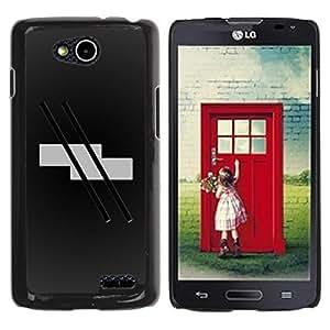 Abstract Stripes - Metal de aluminio y de plástico duro Caja del teléfono - Negro - LG OPTIMUS L90 / D415