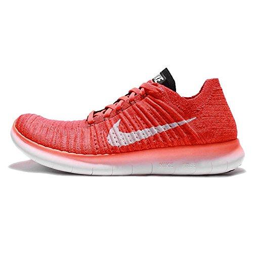 Nike Free Rn Flyknit, Zapatillas de Running para Hombre Naranja (Bright Crimson / White-Black)