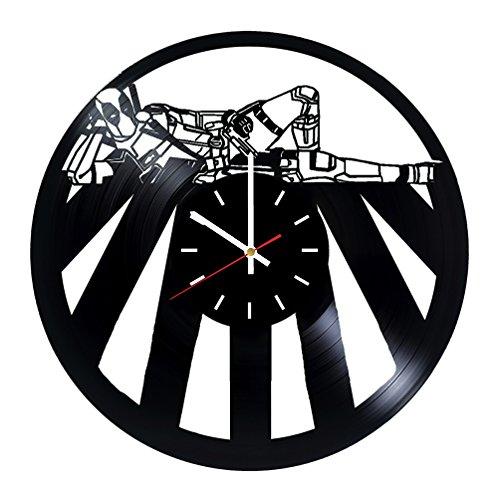 Marvel Legends Deadpool Vinyl Record Wall Clock - Home Room or Garage Wall Decor - Gift Ideas for Friends, Men, Women, Boys, Girls – Comics Unique Art -