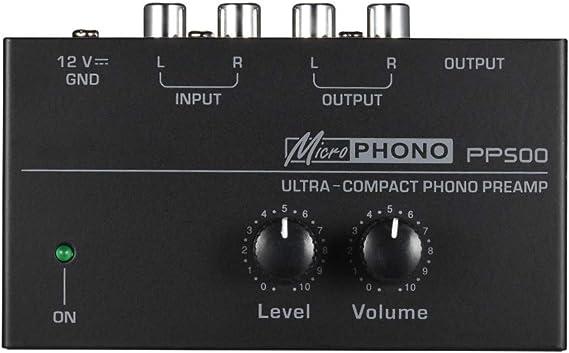 PP500 Mini Phono Tocadiscos Preamplificador de con Nivel y Volumen ...