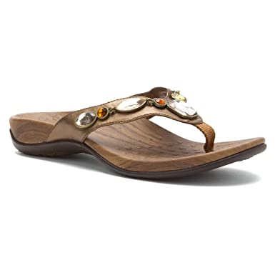 7c5e0b840141f Orthaheel Vionic Eve - Womens Supportive Thong Sandals Bronze Metallic - 10  Wide UK Size
