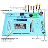 Heat Insulation Silicone Repair Mat, Large Silicone Repair Mat for Soldering Iron, Phone and Computer Repair, Heat Gun, Electronics Repair Disassembly (17.79''×11.69'') - Blue