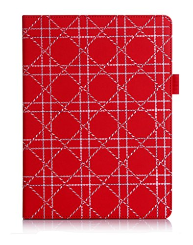 FYY Case for iPad Air 2 - Premium PU Leather Case Smart Auto Wake/Sleep Cover with Hand Strap, Card Slots, Pocket for iPad Air 2 Red Pattern