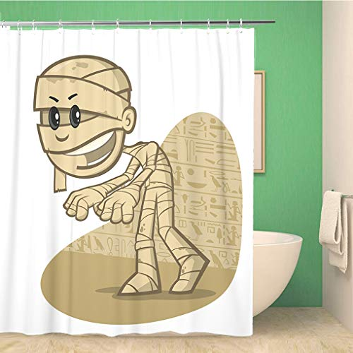 Awowee Bathroom Shower Curtain Cartoon Funny Mummy Egypt Antique Archaic Character Clip Embalmed 60x72 inches Waterproof Bath Curtain Set with Hooks -