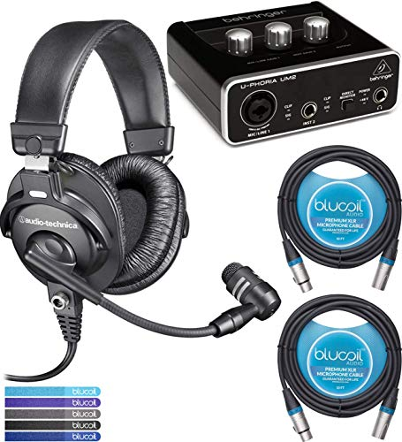 (Audio-Technica BPHS1 Broadcast Headset Bundle with Behringer U-PHORIA UM2 2x2 USB Audio Interface with 48V Phantom Power, 2-Pack of Blucoil 10-FT Balanced XLR Cables, and 5-Pack of Reusable Cable Ties )