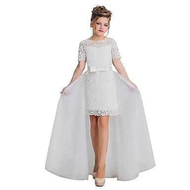 Amazon slenyubridal detachable train flower girl dresses for slenyubridal detachable train flower girl dresses for first communion ivory size 2 mightylinksfo