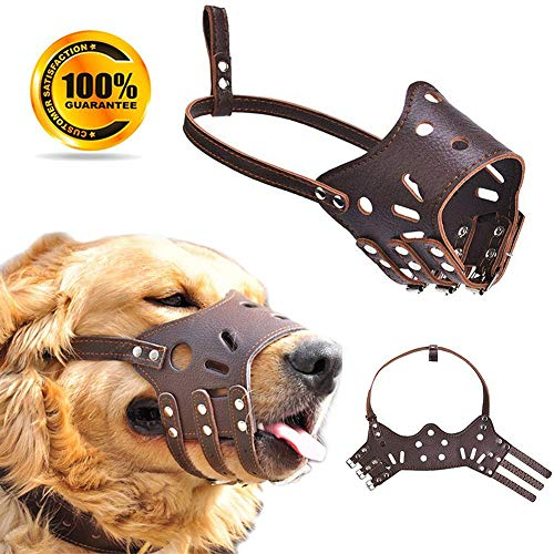 - Leather Dog Muzzle - Adjustable Muzzle for Small Medium Large Dog, Soft Breathable Dog Mouth Cover Training Muzzles for Biting Barking Chewing - Allows Dringking and Eating, Used with Collars