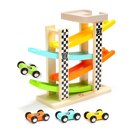 Wooden Ramp Racer Car Track for Toddlers - TOP BRIGHT Kids Toys Racing Kit with Garage and Wood Cars (Wood Garage)