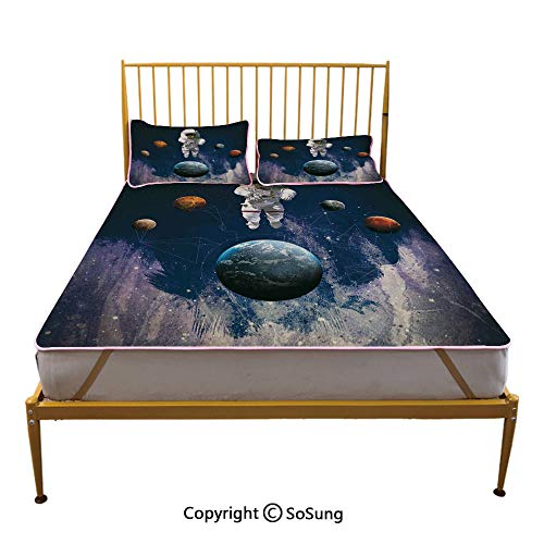 (Outer Space Decor Creative Queen Size Summer Cool Mat,Astronaut in Outer Space with Planets Globe Satellite Energy Eternity Theme Sleeping & Play Cool Mat,Multi)