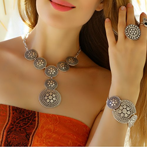 Silver Plated Short Elegant Trendy Chunky Retro Vintage Boho Unique Small Statement Y Necklace by Generic (Image #2)