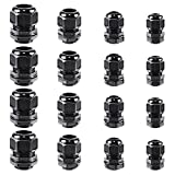 XHF2018 Cable Glands Nylon Waterproof 5-25mm Cable Glands Joints Wire Protectors, NPT3/8'',NPT1/2'',NPT3/4'',NPT1'' 16PCS, Black(RAL9005)