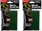 BCW 2 50ct Packs (100) Mat Deck Guard GREEN DOUBLE MATTE Finish for Standard Size Collectible Cards - Deck Protector Sleeves for MTG Magic the Gathering, Pokemon, L5R, WOW, [2-Pack Bundle] by BCW Gaming