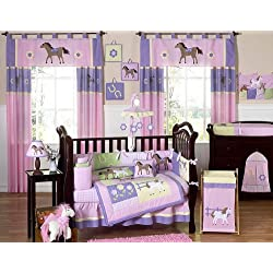 Pretty Pony Horse Western Purple Baby Girl Bedding 9pc Crib Set by Jojo Designs
