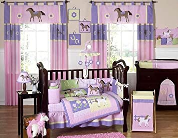 Awesome Pretty Pony Horse Western Baby Girl Bedding 9pc Crib Set By Jojo Designs