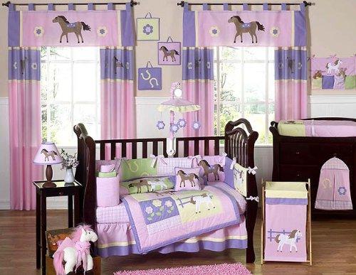 (Pretty Pony Horse Western Baby Girl Bedding 9pc Crib Set by Jojo Designs )