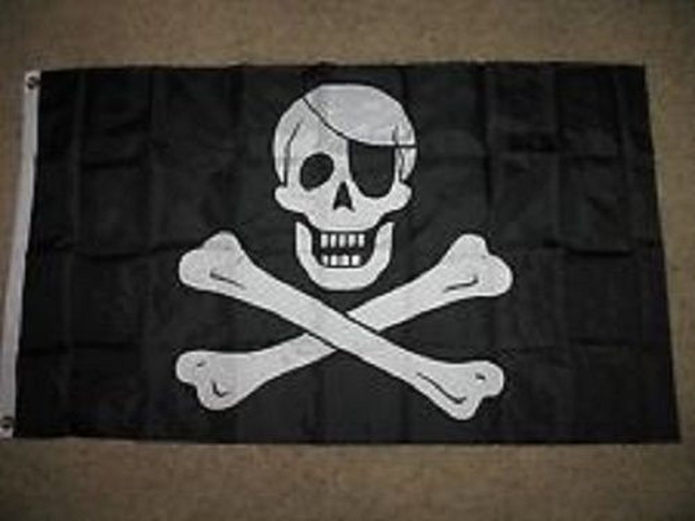 【絶品】 3 x 5刺繍縫製Jolly Roger Pirate Eye Patch合成コットンフラグ3 ' x5 '   B01N1YMY1D, 【破格値下げ】 9221a539