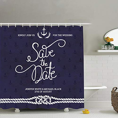 Save Date Typography Wedding Invitation Nautical Backgrounds Textures Sailor Vintage Fabric Bathroom Decor Set with Hooks, 72 x 72 Inches (Difference Between Save The Date And Wedding Invitation)