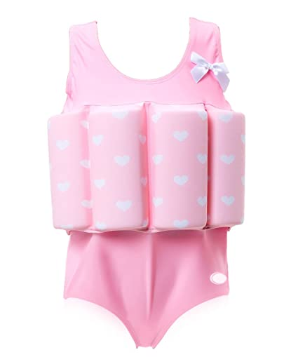 8d9bd814a1388 Zerlar Floatation Swimsuits with Adjustable Buoyancy for 1-9 years Baby  Girls (Pink Heart