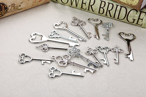 Assorted Skeleton Key Shaped Bottle Openers Wedding Favor Rustic D cor, 40 pieces Mixed Silver