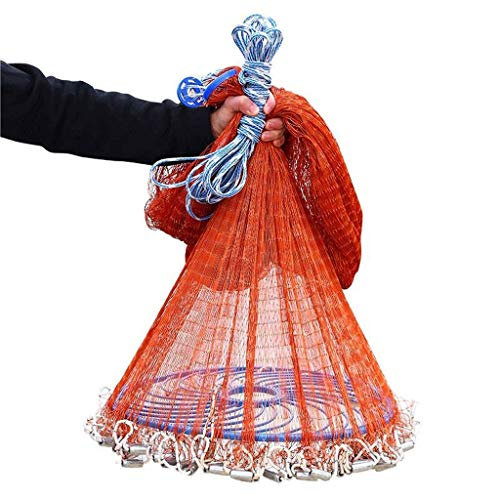 Folding Fishing net Fishing Nets Round Discs Hand Nets American Automatic Easy to Spin Rotary Nets Pond Bait Traps Collapsible Portable Fishing Artifacts Red