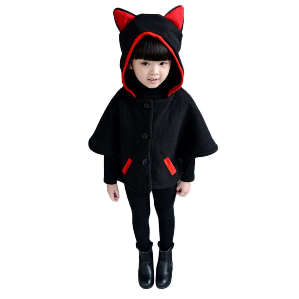 VESNIBA Kid Baby Girl Autumn Winter Cloak Waistcoat Thick Coat Warm Outwear Clothes (3T, Black)