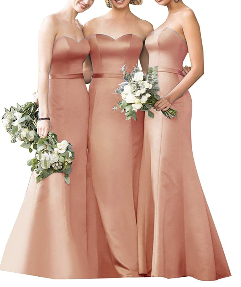 bluesh Satin Bridesmaid Dresses Long Mermaid Strapless Party Gowns with Belt for Womens