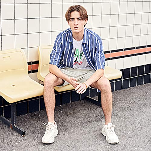Color : Blue, Size : XL WangZhiGang Summer Mens Shirt Casual Short-Sleeved Top Button Shirt Cotton Shirt