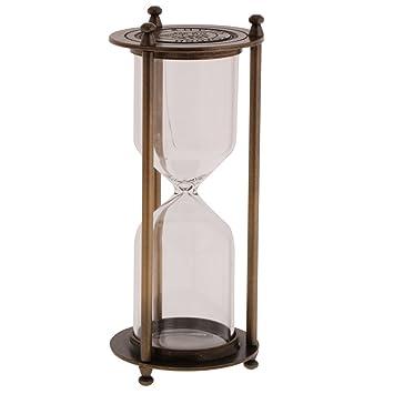 Gazechimp Reloj de Arena Sandglass Retro Metal Frame Empty Temporizador de Arena - Bronce, Tamaño (DxH): 7 x 16 cm: Amazon.es: Hogar