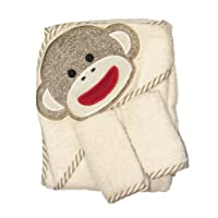 Sock Monkey Hooded Towel and 2 Washcloth Set by Baby Starters - Off-White - N...
