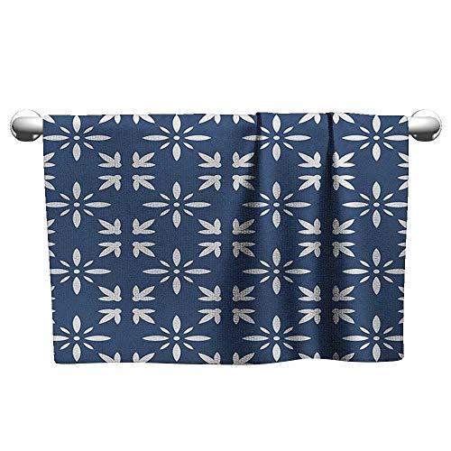 xixiBO Soft Towel W28 x L12 Indigo,Modern Design Floral Image Leaves Rose Petals Inspired Design Art Print, Navy Blue and White Ladies Towel Bathroom Microfiber