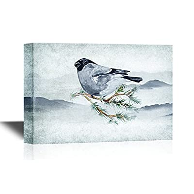 Watercolor Painting Bullfinch on a Pine Branch, Created Just For You, Unbelievable Craft