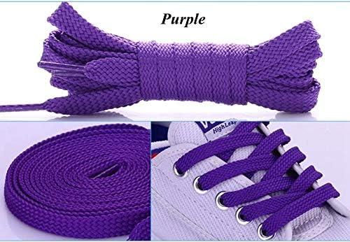 TMYQM 1Pairダブルフラットレース ポリエステル靴ひもファッションスポーツカジュアル靴レースソリッドフラット靴ひも28Colors (Color : Purple, Size : 100cm)