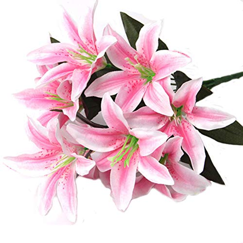 - Artfen Artificial Lily 10 Heads Fake Lily Artificial Flower Wedding Party Decor Bouquet Home Hotel Office Garden Craft Art Decor Pink