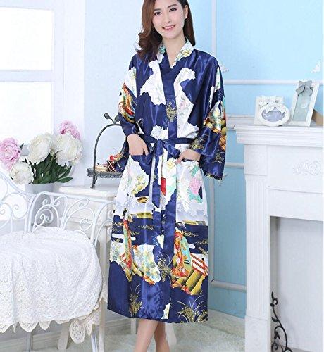 X&H Cute dresses gowns home silk suit bathrobe yukata , zhi qing , m ...