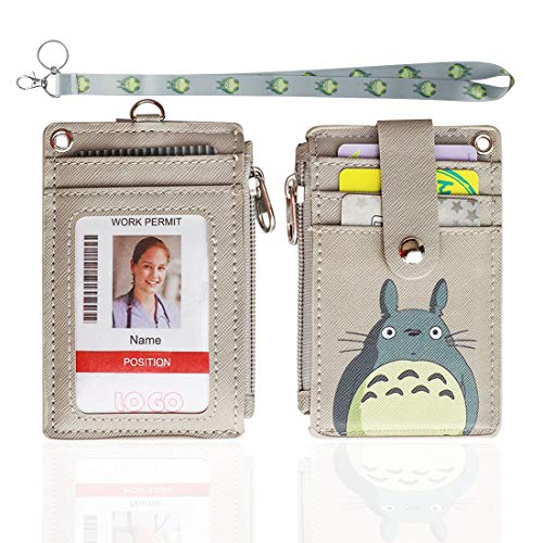 Badge Holder with Zipper,HASFINE Cute Id Badge Holder Wallet Leather Credit Card Holder Zipper Wallet with Lanyard, 2 Sided 5 Card Slots and Key Chain for Boys Girls Office Staff Women