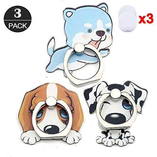 ZOEAST(TM) 3 Pack Phone Ring Grip Basset Hound Malamute 101 Malamute Universal 360° Adjustable Holder Car Desk Hook Stand Stent Mount Kickstand Compatible with iPhone X Plus Samsung iPad (3pcs Dogs)]()