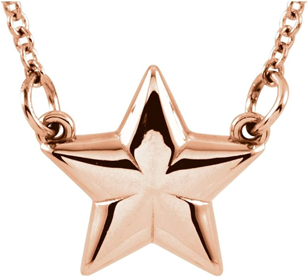 FB Jewels 14K Rose Gold Star 18 Necklace